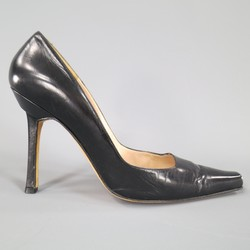 MANOLO BLAHNIK Size 10 Black Leather Pointed Square Toe Pumps