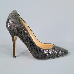 MANOLO BLAHNIK Size 6 Black Leather Sequined Pumps