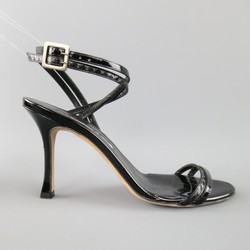 MANOLO BLAHNIK Size 6.5 Black Patent Snake Skin Leather Ankle Strap Sandals