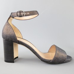 MANOLO BLAHNIK Size 6.5 Metallic Coated Navy Denim Ankle Strap Sandals