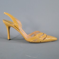MANOLO BLAHNIK Size 7.5 Tan Patent Leather Pumps
