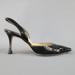 MANOLO BLAHNIK Size 8 Black Alligator Skin Leather Slingback Pumps
