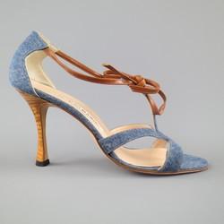 MANOLO BLAHNIK Size 8 Blue Denim & Tan Leather Strappy Sandals