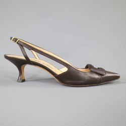 MANOLO BLAHNIK Size 8 Brown Leather Buckle Toe Slingback Pumps