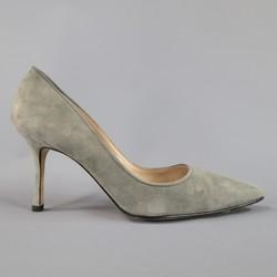 MANOLO BLAHNIK Size 8 Grey Suede Pointed Toe Pumps