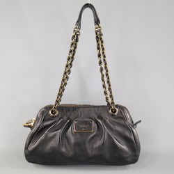 MARC JACOBS Black Gathered Leather Gold Chain Handbag