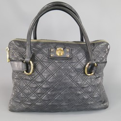 MARC JACOBS Charcoal Quilted Leather Top Handles Snap Lock Handbag
