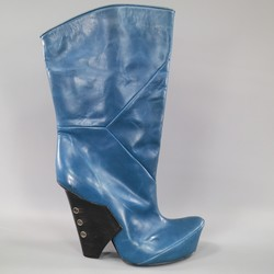 MARC JACOBS Size 11 Blue Leather Fall 2009 Curved Toe Runway Boots