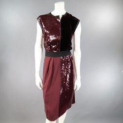 MARC JACOBS Size 4 Burgundy Sequin & Velvet Patchwork Cocktail Dress