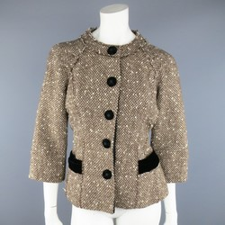 MARC JACOBS Size 4 Light Brown & Cream Wool Tweed & Black Velvet Jacket