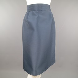 MARC JACOBS Size 4 Slate Blue Nylon / Silk Snap Slit A Line Skirt