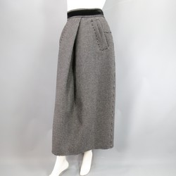 MARC JACOBS Size 8 Charcoal Nailhead Dot Pleated Wool Midi Skirt