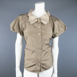 MARC JACOBS Size 8 Taupe & Beige Silk Ballon Sleeve Bow Blouse