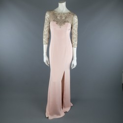 MARCHESA NOTTE Size 4 Rose Pink Silk Metallic Lace Top Evening Gown