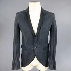 MARKUS STICH 36 Black Cotton Textured Single Button Notch Lapel Jacket