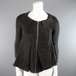 MARNI Size 2 Black Silk / Linen Asymmetrical Pleated A Line ZIp Jacket