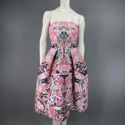 MARY KATRANTZOU Size 2 Pink & Green Floral Print Strapless A Line Cocktail Dress
