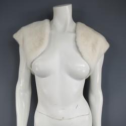 MARY MCFADDEN Size M Cream Cropped Bolero Vest Shrug