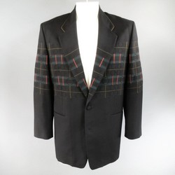 MATSUDA 40 Black Wool Geometric Circles & Stripes Oversized Sport Coat Jacket