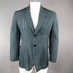 MATSUDA 40 Teal Cotton / Silk Burnout Striped Sport Coat