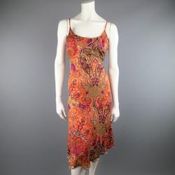 MAX MARA Size 10 Burnt Orange Burnout Paisley Silk Blend Slip Dress