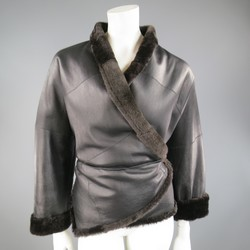 MAX MARA Size 2 Black & Brown Shearling Cropped Wrap Tie Jacket