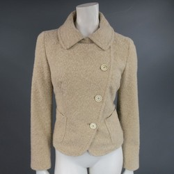 MAX MARA Size 8 Beige Cashmere Blend Tweed Asymmetrical Collared Jacket