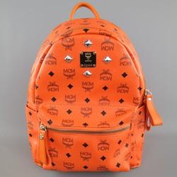 MCM Orange Monogram COated Canvas Studded Backpack