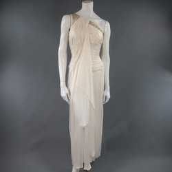 MICHAEL CASEY Size 6 Cream Pleated One Shoulder Gold Beaded Grecian Gown