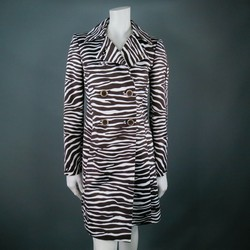 MICHAEL KORS Size 4 Brown Zebra Trenchcoat
