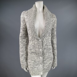 MICHAEL KORS Size M Grey & White Cashmere Shawl Collar Cardigan