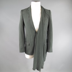 MIHARA YASUHIRO 36 Olive Green Asymmetrically Draped Silk Blazer