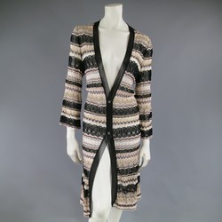 MISSONI Beige  Brown Pink Grey & Black Striped Mesh Knit Cardigan Coat
