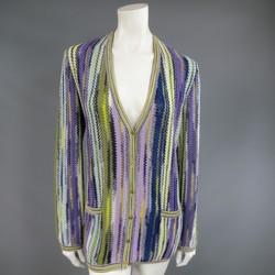 MISSONI Size 12 Purple Green Yellow & Blue Striped Knit V Neck Cardigan