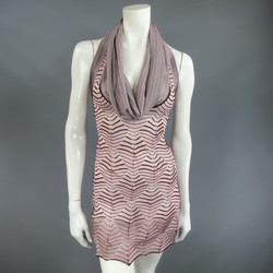 MISSONI Size S Pink & Brown Striped Textured Knit Cowl Neck Halter Top
