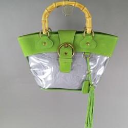 MIU MIU Green Acetate Top Handles Bamboo Handbag