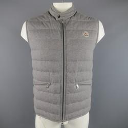 MONCLER XXL Heather Grey Quilted Cotton Down Vest