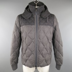 MONCLER XXL Two Tone Gray Quilted Wool Detachable Hood Jacket