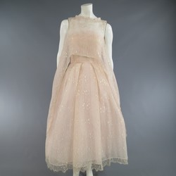 MONIQUE LHUILLIER Size 4 Pink Iridescent Lace Strapless Cape Dress