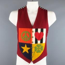 MOSCHINO 42 Burgundy Wool Patchwork Peace Love Crest Vest