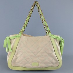 MOSCHINO Cheap & Chic Beige & Green Quilted Canvas Handbag