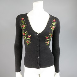 MOSCHINO Cheap & Chic Size 6 Charcoal Wool Floral Embroidered Cardigan