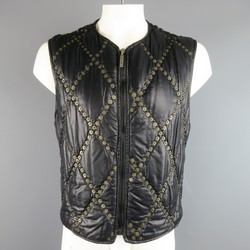 MOSCHINO JEANS XL Black & Gold Qulited Studded Nylon Vest
