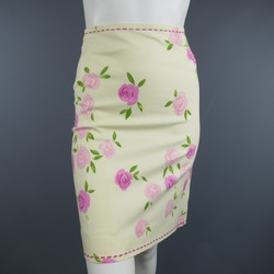 MOSCHINO Size 4 Pink Rosette Print Yellow Beige Cotton Top Stitch Pencil Skirt