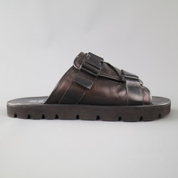 MSGM Size 10 Black Leather Thick Buckle Strap Sandals