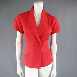 MUGLER Size 6 Red Short Sleeve Velcro Blazer Jacket