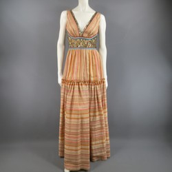NAEEM KHAN Size 8 Beige Striped Silk Button Embellished Maxi Dress