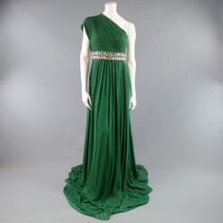 NAEEM KHAN Size 8 Emerald Green Silk Onse Shoulder Crystal Waist Evening Gown