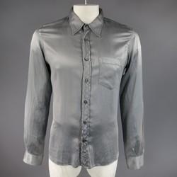NICOLO CESCHI BERRINI Size L Grey Silk / Cotton Satin Long Sleeve Shirt