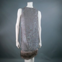 NORMAN AMBROSE Size 4 Gray Silk Sequined Shift Cocktail Dress